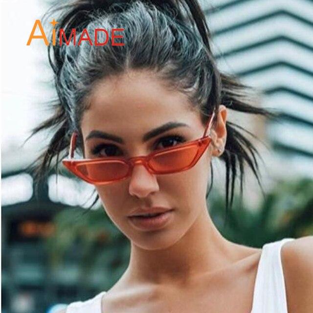 96f3dc118ac2 Aimade 2018 New Clear Lens Small Cat Eye Sunglasses Women Fashion Brand  Cute Red Gray Cateye Sun Glasses For Female Shades UV400