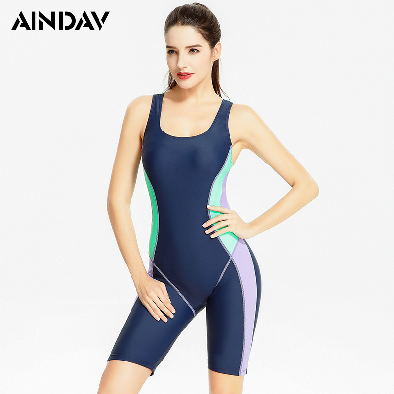 Ladies Knee Length One Piece Swimsuit Sport Suit Beach Arena Swimwear Swimming Suit For Women Racing One Piece Bathing Suit