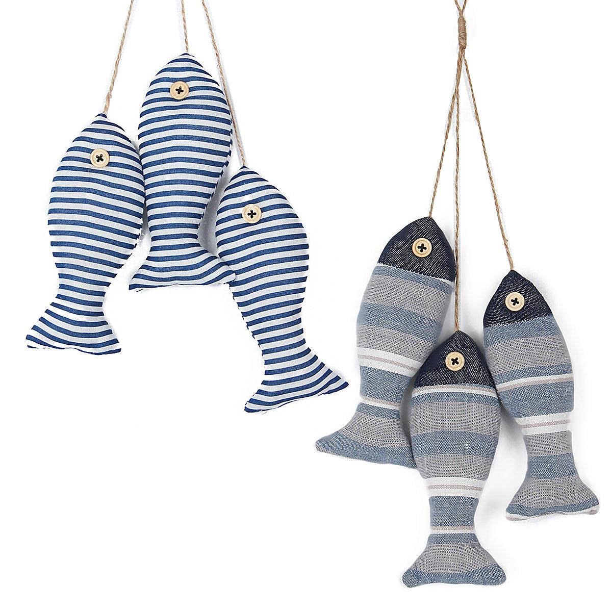 Personalized ornaments for kids - 3pc 1set Mediterranean Fish Personalized Cloth Blue Fish Wall Hanging Craft Home Party Decor Nautical Ocean Kid Room Ornaments