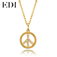 EDI Classic Women 18k Yellow Chain Necklace Peace Round Pendant Statement Necklaces For Womens Wedding Fine Jewelry Gift