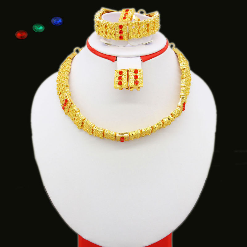Ethiopian Tradition Jewelry sets Gold Color Crystal Necklace/Bracelet/Earring/Ring African Eritrea Women Jewlery Set
