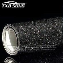 Adesivo vinil preto de glitter, adesivo de vinil para estilização do carro, 10/20/30/40/50/60x152cm filme vinil envoltório lixadeira fosca, com glitter
