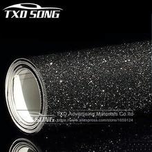 10/20/30/40/50/60X152CM Per Lot Zwarte glitter Vinyl sticker nieuwe Auto Styling mat schuren Glitter Vinyl Film Body Wrap