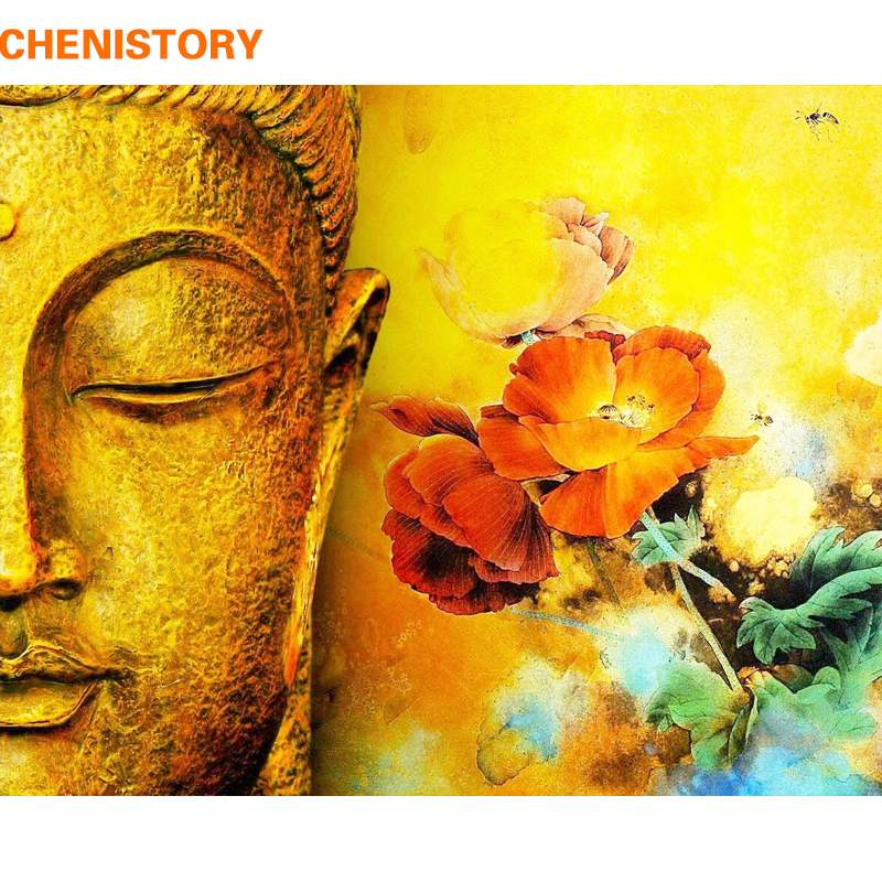 CHENISTORY Frameless Buddha Flower DIY Painting By Numbers Kits Acrylic Paint By Numbers Hand Painted Unique Gift For Home Decor