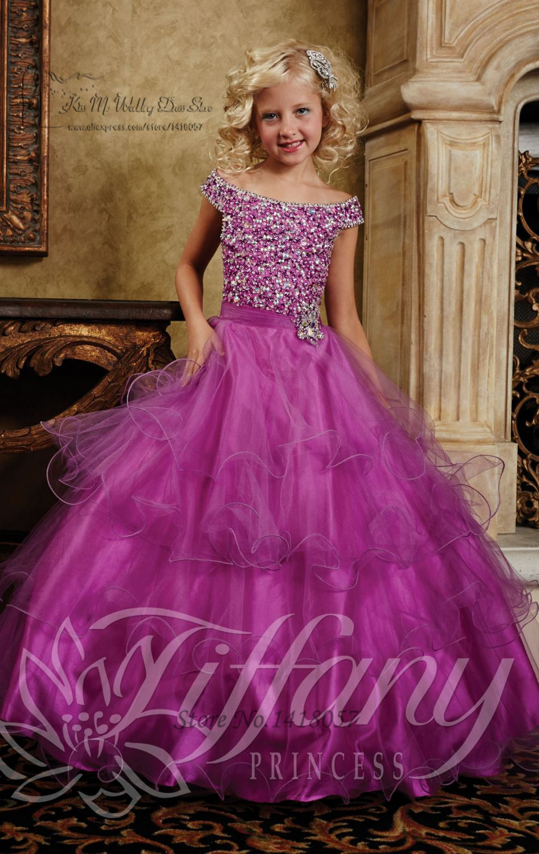 Lovely Prom Dress Children Beaded Lace up Back Plus Size Flower Girl ...