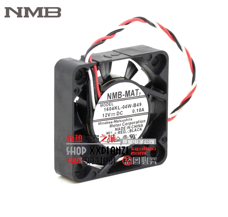 Brand NMB 1604KL-04W-B49 4010 40mm DC 12V 0.1A dual ball bearing axial cooling fan sunon original kde2404pfv3 double ball bearing cooling axial fan dc 24v 0 9w 4010 40 40 10mm 100 pcs lot