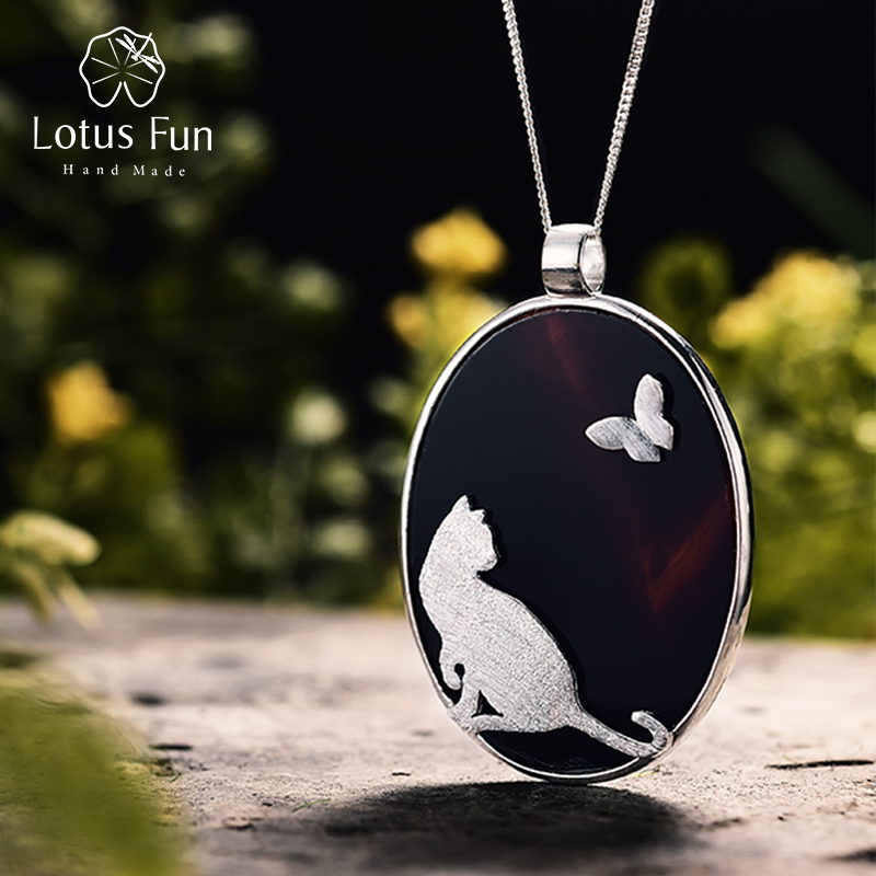 Lotus Fun Real 925 Sterling Silver Natural Agate Handmade Fine Jewelry Cat and Butterfly Pendant without Chain Women AcessoriosLotus Fun Real 925 Sterling Silver Natural Agate Handmade Fine Jewelry Cat and Butterfly Pendant without Chain Women Acessorios