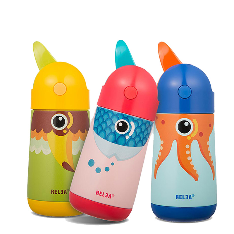 Baby Feeding Bottle with straw Cute Thermos Vacuum Cup Stainless Steel Flask Insulation Portable Cartoon Children Drinking Cup creative fashion portable stainless steel vacuum cup