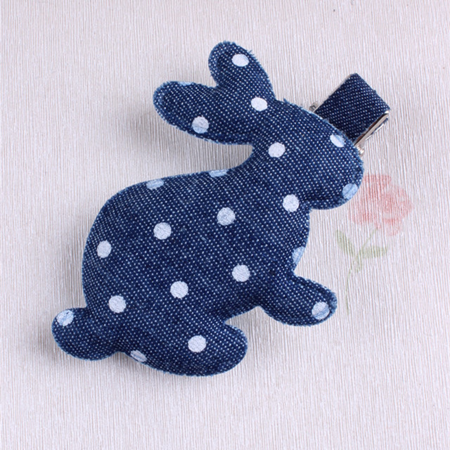 Classical Denim Hair Clips Rabbit Hairpin For Baby Girls Lovely Polka Dots Bunny Women Barrette Kids Children Hair Accessories new arrival ladies barrettes colorful dots cloth hair clips bb hairpin for girls women hair accessories 8pcs lot