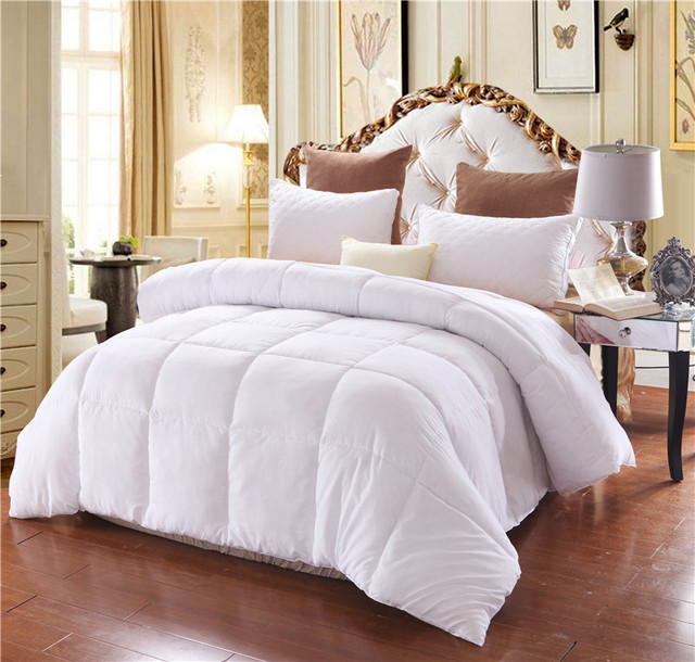 White Modern Winter Comforter Futon Twin Queen King Size Blanket Quilt Duvet