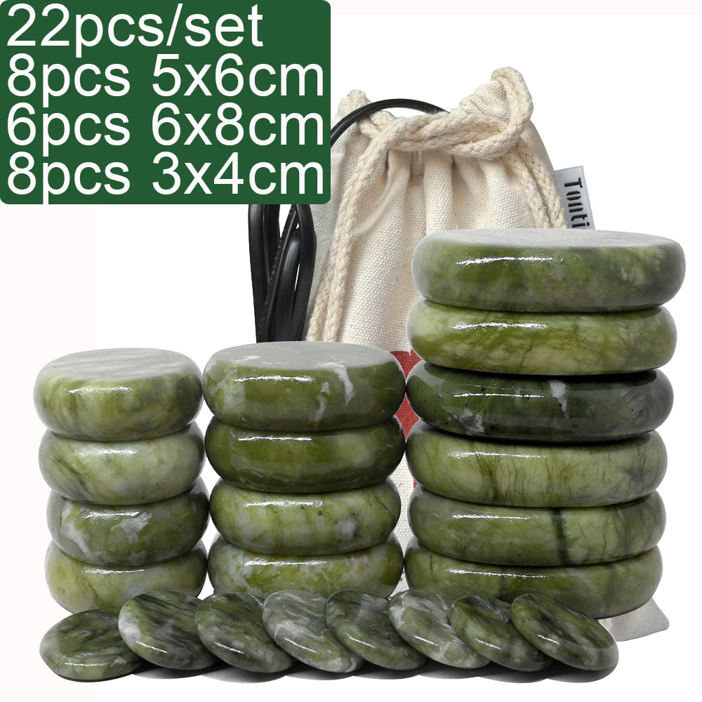 New Green Jade Body Massage Hot Stone SPA with Canvas CE and ROHS Relieve Pain Spa