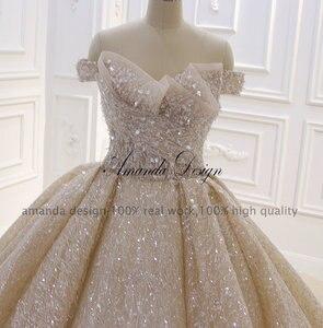 Image 5 - Amanda Tasarım En Kaliteli Kapalı Omuz Pileli Şampanya Parlak Lüks düğün elbisesi