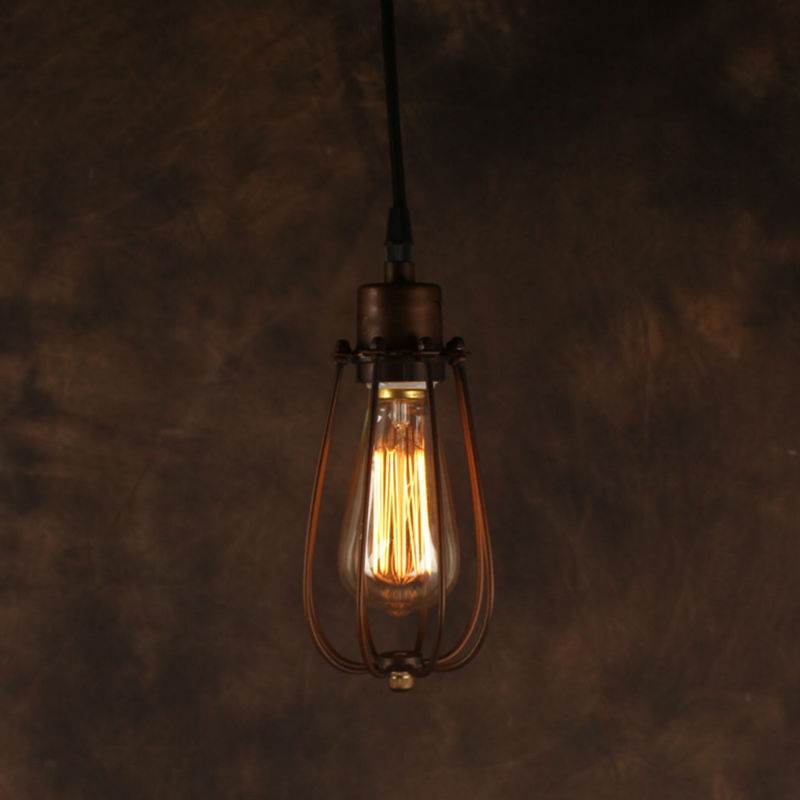 Vintage Pendant Light Industrial Edison Lamp American Style With Cage RH Loft Coffee Bar Restaurant Kitchen Lights High Quality vintage pendant light industrial edison lamp american style clear glass bell shade fixture rh loft coffee bar restaurant lights