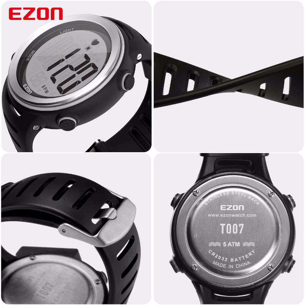 Image 4 - New Arrival EZON T007 Heart Rate Monitor Digital Watch Alarm Stopwatch Men Women Outdoor Running Sports Watches with Chest Strapwatch withwatch alarmwatch digital -
