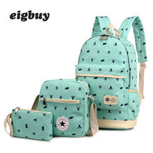 3pcs/set Children Canvas School Backpacks College Bag Fashion Plecak For Teenage Girls And Boys Cotton Bags