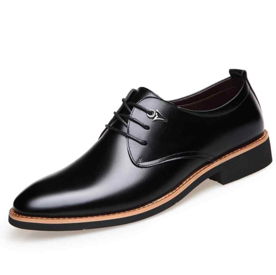 ผู้ชายธุรกิจ Pointy สีดำรองเท้าแบรนด์หรูหนังกระชับ Breathable อย่างเป็นทางการงานแต่งงาน Basic รองเท้ารองเท้าผู้ชายรองเท้าแฟชั่นใหม่