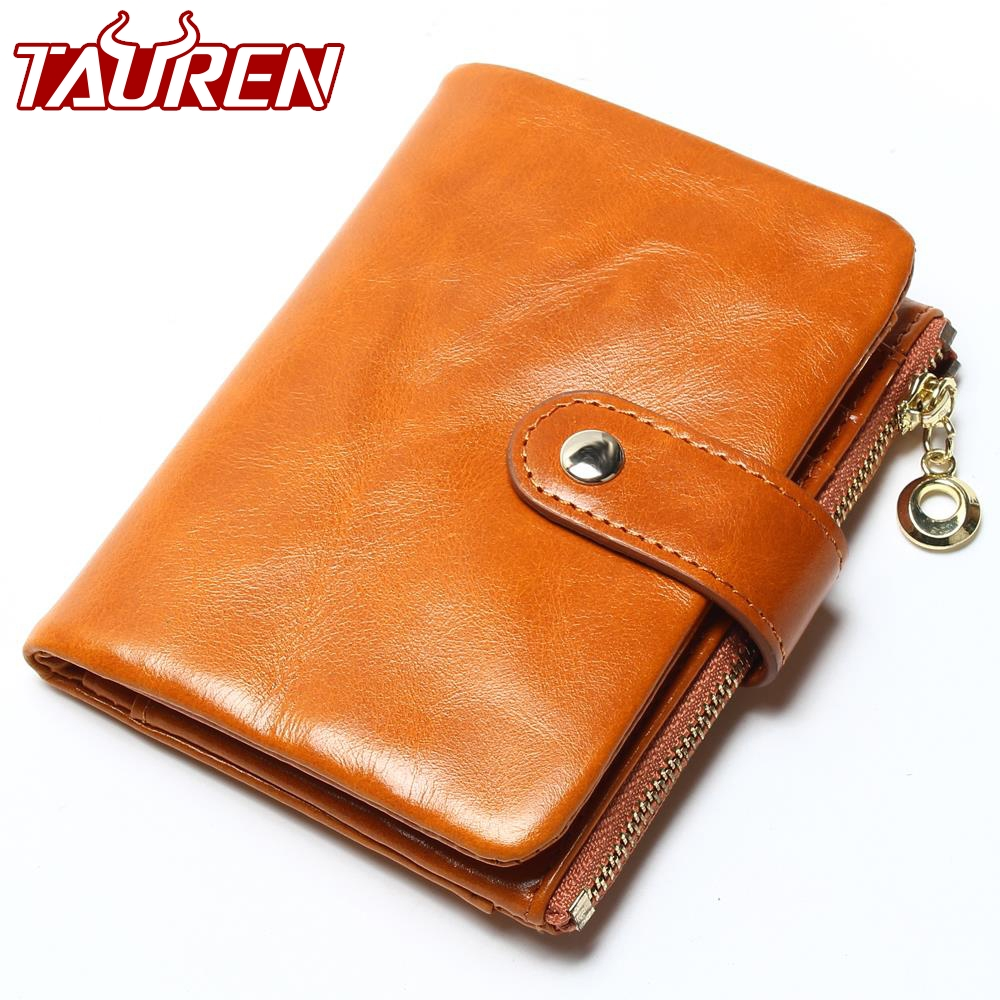 2018 Brand Design High Quality Women Genuine Leather Vintage Wallet Cowhide Coin Purse Oil Waxing Purses Zipper Pocket Wallets new 2018 women wallets short high quality genuine leather wallet for women luxury brand cowhide purse with coin pocket
