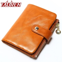 2018 Brand Design High Quality Women Genuine Leather Vintage   Wallet   Cowhide Coin Purse Oil Waxing Purses Zipper Pocket   Wallets