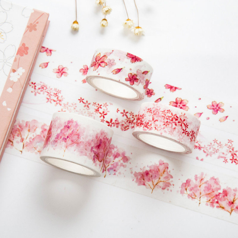 1 Pcs Kawaii Watercolor Sakura Cherry Blossoms Washi Tape Adhesive Tape DIY Scrapbooking Sticker Label Masking Tape Stationery