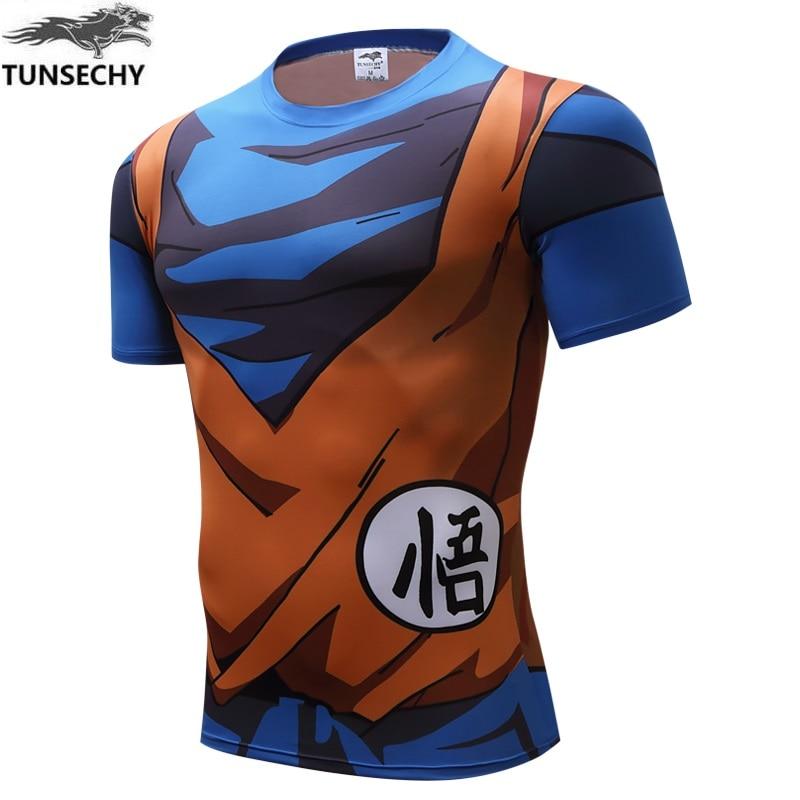 TUNSECHY Brand Newest 3D Digital printing Round collar T-shirts VEGETA GOKU tight Short sleeve T-shirts Free transportation