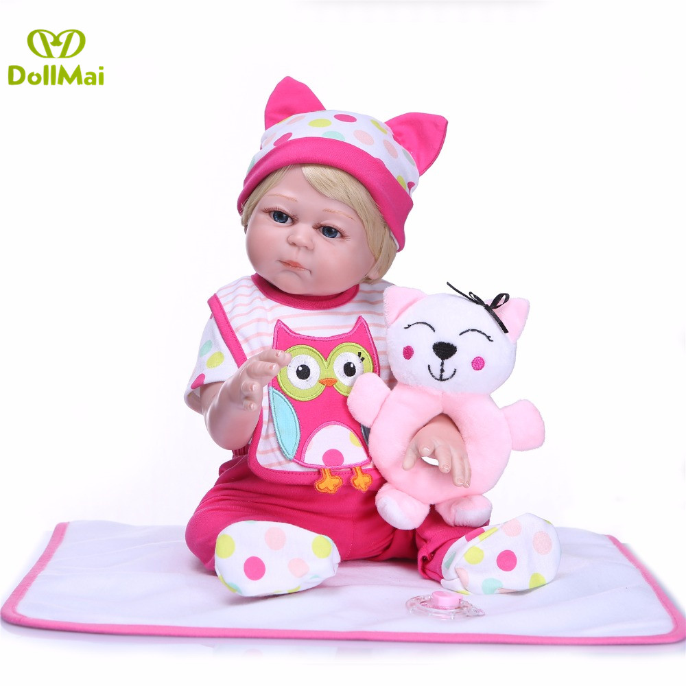 Full vinyl silicone reborn baby girl dolls 50cm real baby new born dolls toys gift for kids bebe boneca reborn meninaFull vinyl silicone reborn baby girl dolls 50cm real baby new born dolls toys gift for kids bebe boneca reborn menina