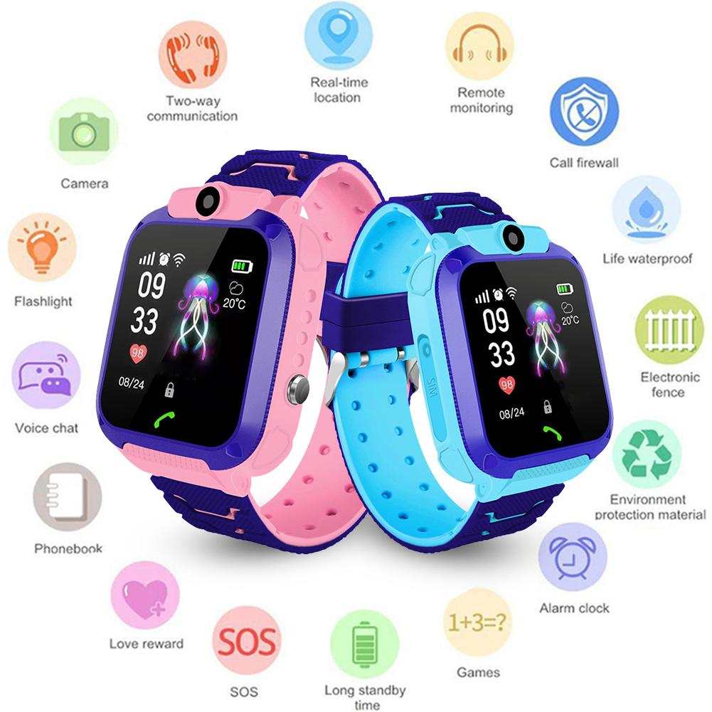 Q12 1.44 Inch Waterproof Smartwatch For Kids Touch Screen Camera Children's Watches IP67 SOS GPS Positioning Call Location Clock