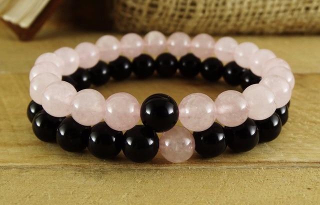 e7eb6b1d9108 2 Unid moda pulsera Piedra Natural 8mm Rosa cristal negro Onyx pulseras  distancia brazalete mala Yoga