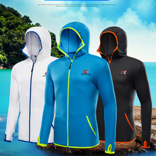 Fishing Men Clothes Casual suit Outdoor Camping Hooded Jackets Ice silk Quick drying Jacket XL