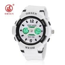 OHSEN спортивные часы для женщин Повседневная двойной Дисплей водонепроницаемость 50 м Кварц цифровой женские наручные часы Relogio feminino