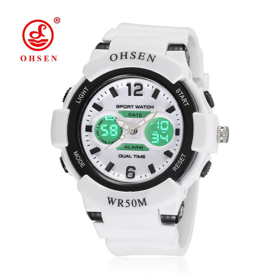 Prix pour Ohsen sport montres pour femmes casual double affichage résistant à l'eau blanc quartz numérique femmes de poignet montres relogio feminino