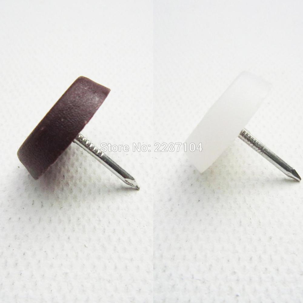 32pcs Brown White Nylon Furniture Chair Table Sofa Leg Feet Base Glides Slide Protector Noise Killer Nail on Dia 17mm snap button jewelry