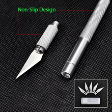 Jeslon Metal Handle Scalpel Tool Craft Knife Cutter Engraving Hobby Knives 6pcs Blade for Mobile Phone