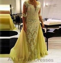 Luxus Meerjungfrau Abendkleider Mit Hülsen Spitze 2016 Vestido De Festa Prinzessin Stil Formale Abendkleider Prom Kleider