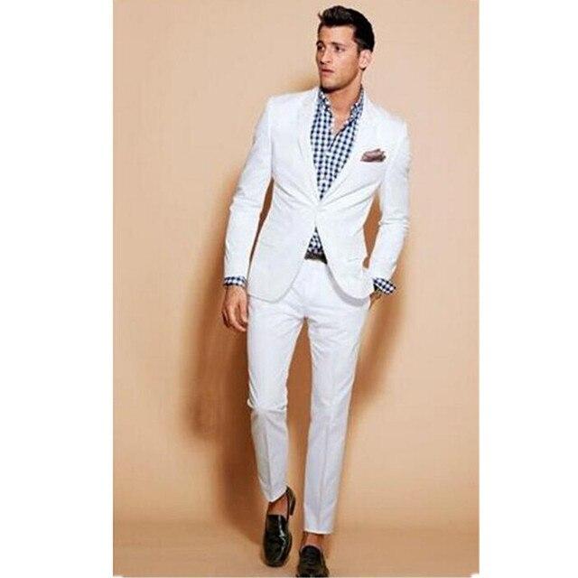 f7ca8b1af19df 2017 Nuevos trajes para hombre baratos Por Encargo Blanca de Los Hombres  Trajes Slim Fit Party