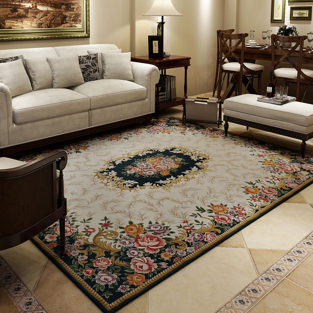 American Style Carpet Rustic Living Room Coffee Table Rug Chenille
