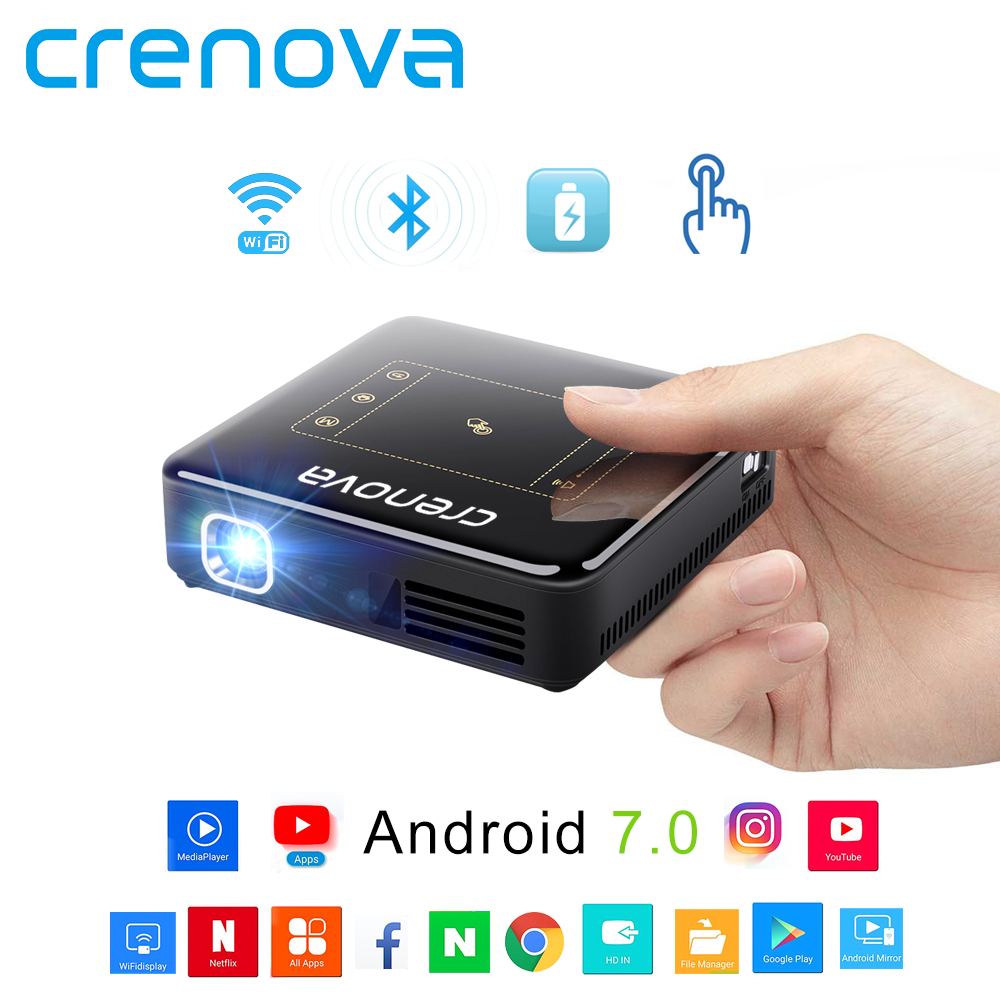 CRENOVA DLP Mini Projector With Android 7 1 2 OS WIFI Bluetooth Portable Projector For Full