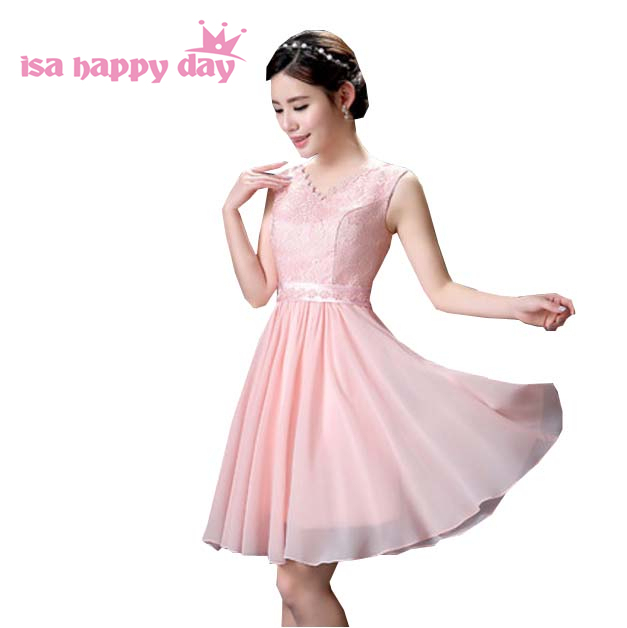 Knee Length Lace And Chiffon A Line Cute V Neck Dress Short Pink