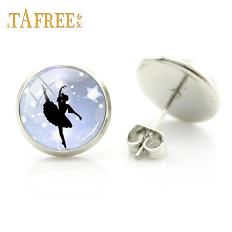 TAFREE Graceful dancer Ballet Studs Earring Exquisite Round Silver Plated Earrings Women decoration Jewelry NS131(1)