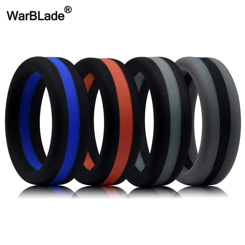 WarBLade Colorful Three Layered Silicone Ring Hypoallergenic Crossfit Flexible Rubber Finger Ring For Men Women Wedding Rings