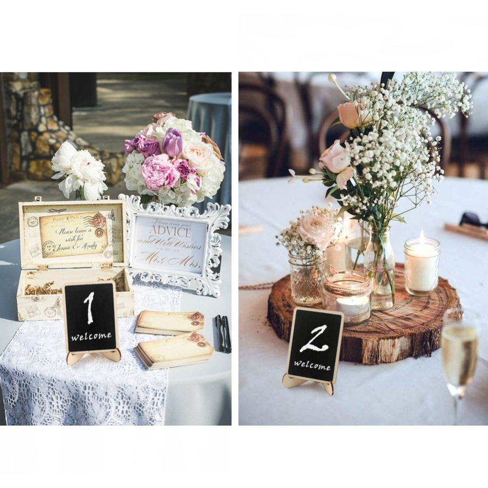 OurWarm 30pcs Chalkboard Wedding Signs Place Cards Wedding Table Numbers Card Holder Communion Souvenirs