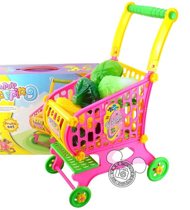 new toddler fruits vegetables food trolley toy supermarket children kid shopping cart pretend. Black Bedroom Furniture Sets. Home Design Ideas