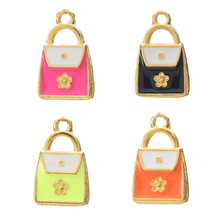 5pcs Colorful Bag Charms Drop Oil Gold Alloy Evil Eye Pendant Charms For Bracelet Necklace Jewelry Making 22*14mm