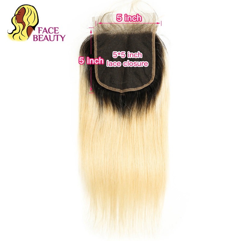 Facebeauty 5x5 Lace Closure 1B 613 Blonde Ombre Honey Color Brazilian Remy Human Hair Free Middle