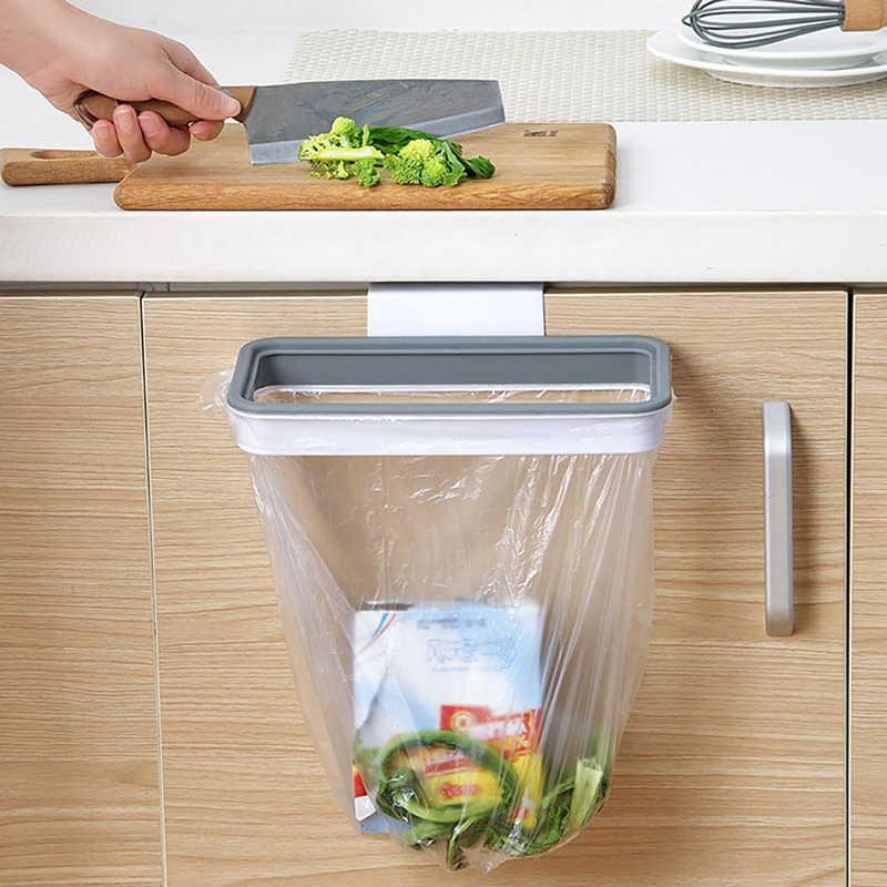 1 stück Kunststoff Schrank Mülleimer Tasche Rack mit Deckel, schrank Hängen Veranstalter Müll Tasche Halter Bad Küche Zubehör (BASUPPLY)