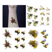 Bees Tattoo Sticker Waterproof Temporary Fake Tatoo Watercolor Insect Hand Arm Children Kids Teens Body Art Tools 10.5X6cm(China)