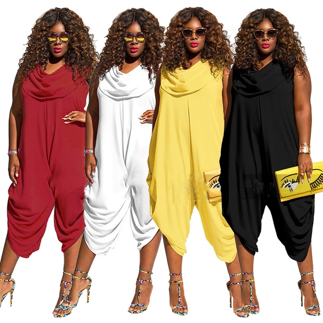 Women 2016 Hot fashion sleeveless long rompers women plus size rompers summer casual rompers M-5XL