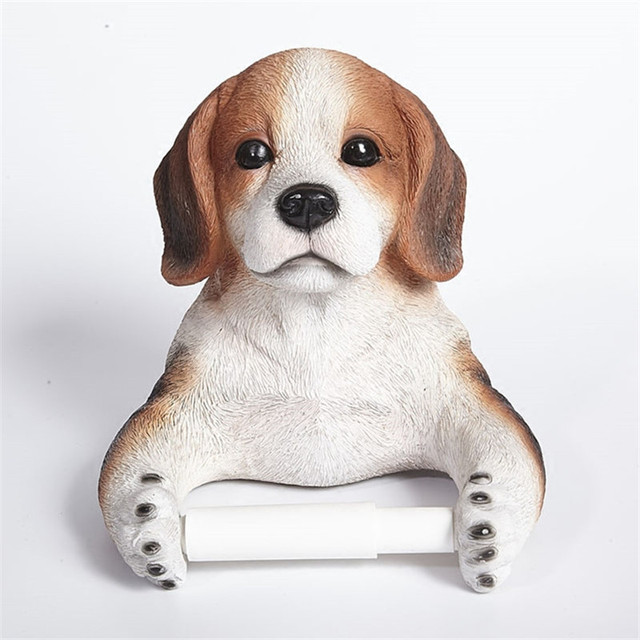 Cute Dog Creative Decorative Tray Bathroom Towel Rack Wall Free Perforated  Toilet Paper Carton Box Pumping