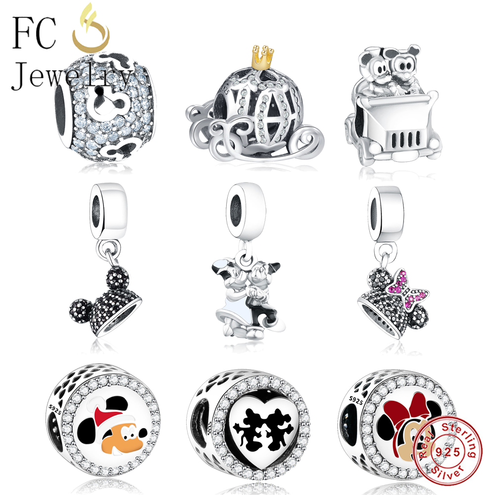 41f46b501 Detail Feedback Questions about Real 925 Sterling Silver Mickey Minnie  Dangle Charm Bead Fit Original Pandora Charm Bracelet Pendant European DIY  Jewelry ...