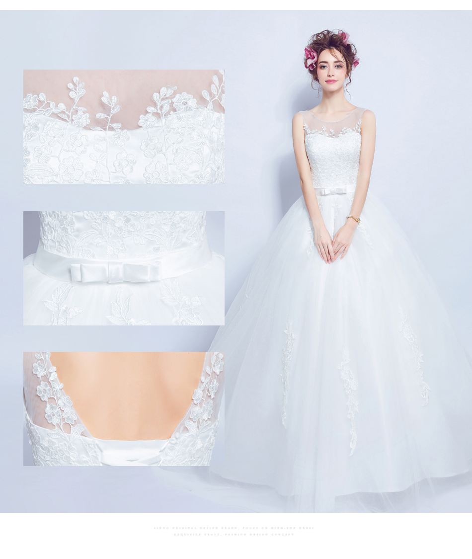 Angel Wedding Dress Marriage Bride Bridal Gown Vestido De Noiva 2017 Lace, flowers, perspective, backless 612 6