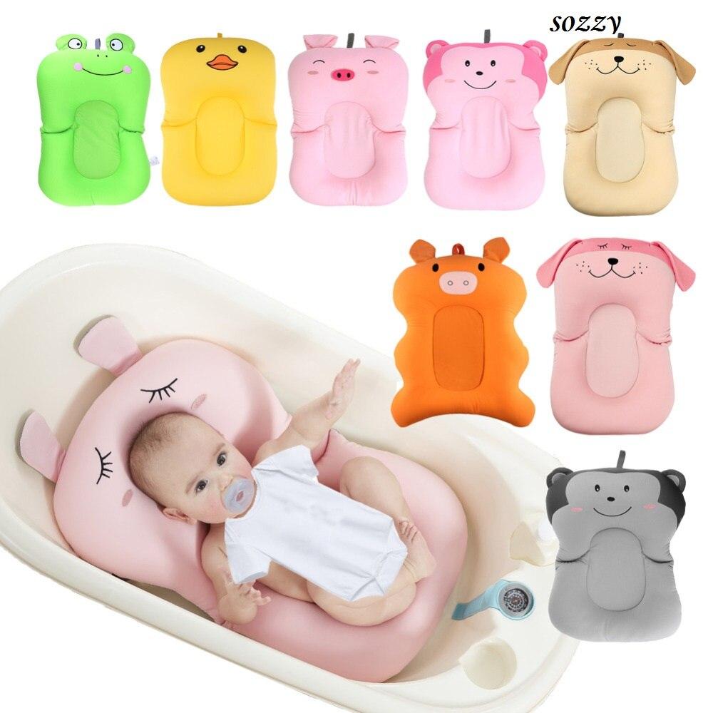 Cartoon Baby Badewanne Faltbare Anti-skid Baby Bade Matte Dusche Bett Nicht-Slip Sicherheit Baby Bad Pad neugeborenen Sitz Weichen Kissen